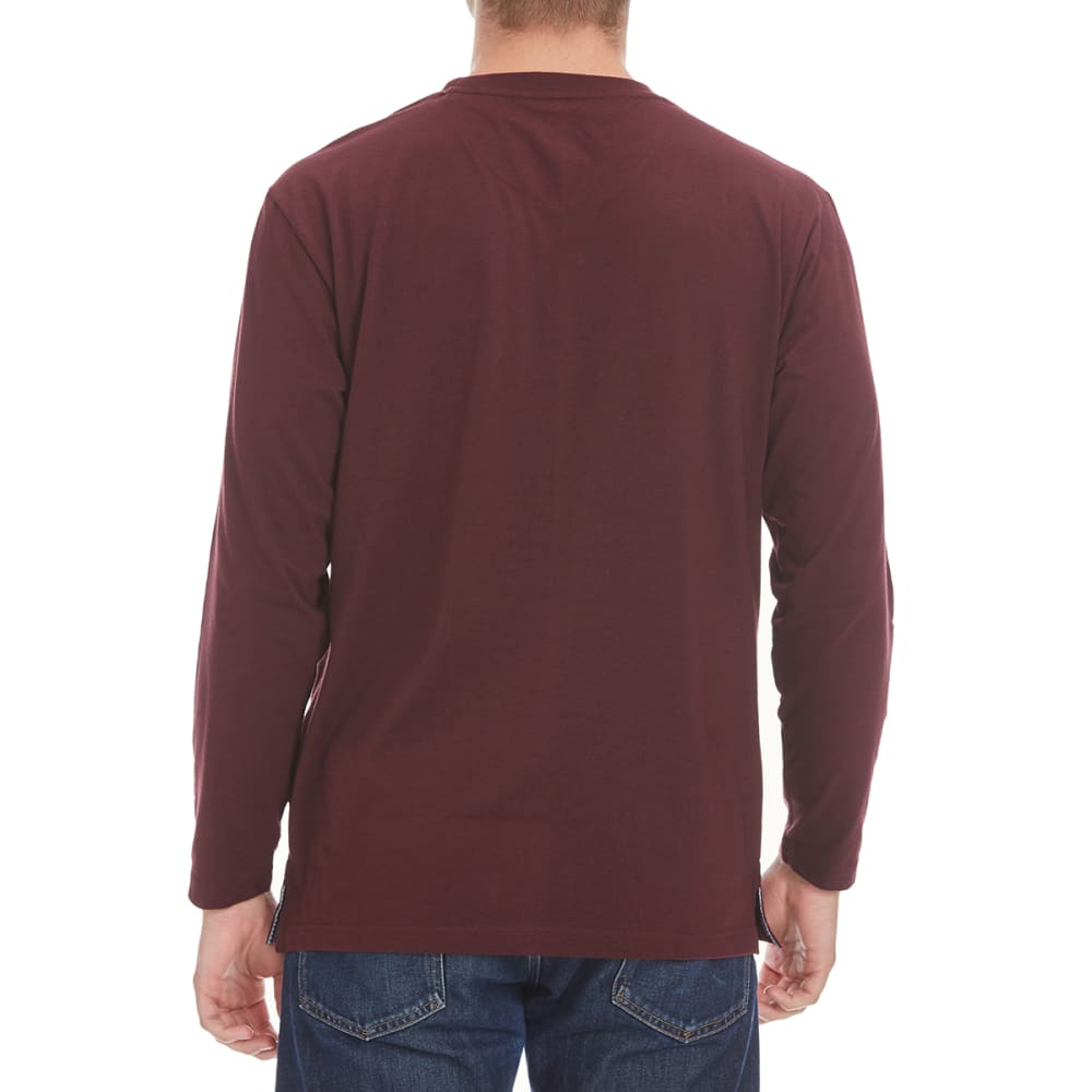 NORTH HUDSON Men's Solid Long-Sleeve Pocket Tee - BURG HTR