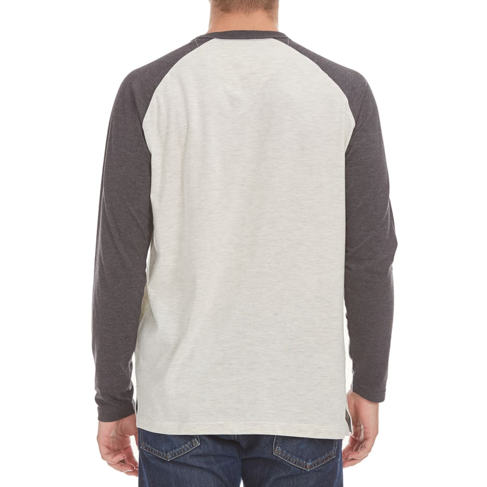 NORTH HUDSON Men's Space-Dye Raglan Crewneck Tee - OAT HTR/BLK HTR
