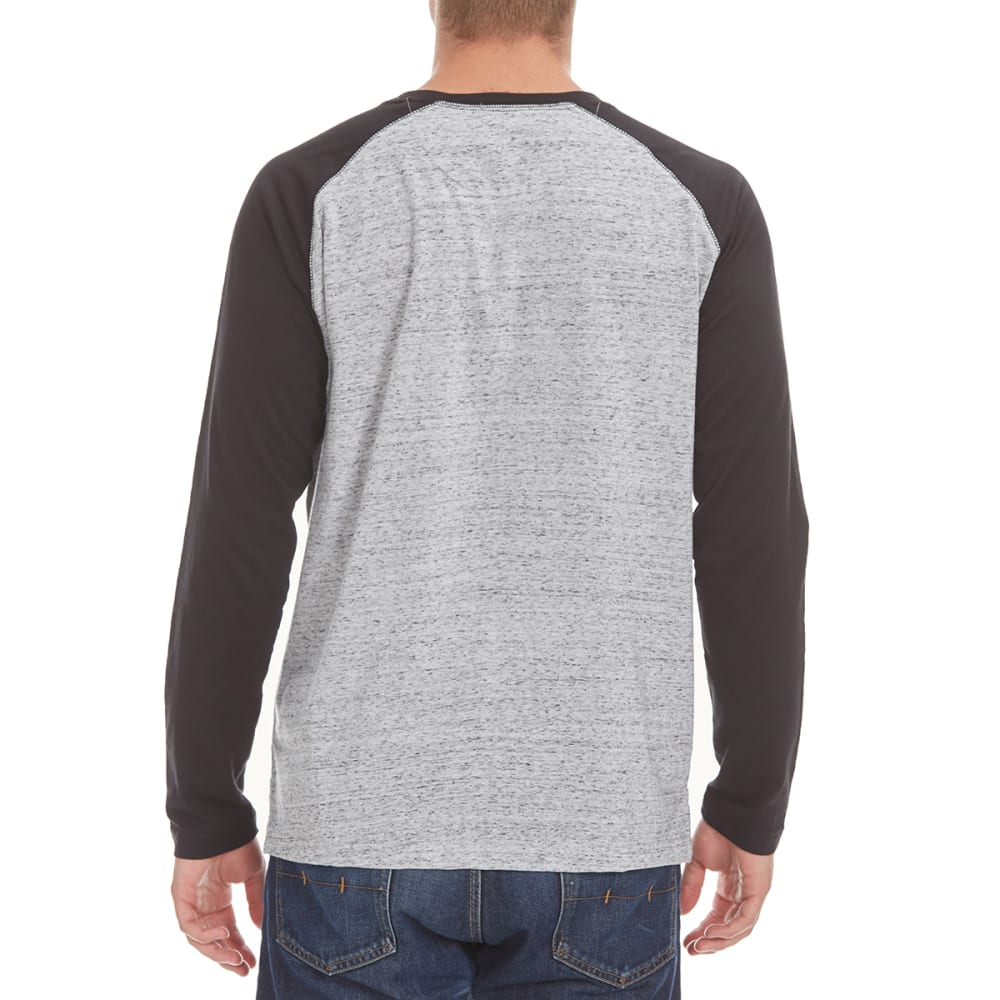 NORTH HUDSON Men's Raglan Space-Dye Henley Shirt - GRY HTR/BLACK