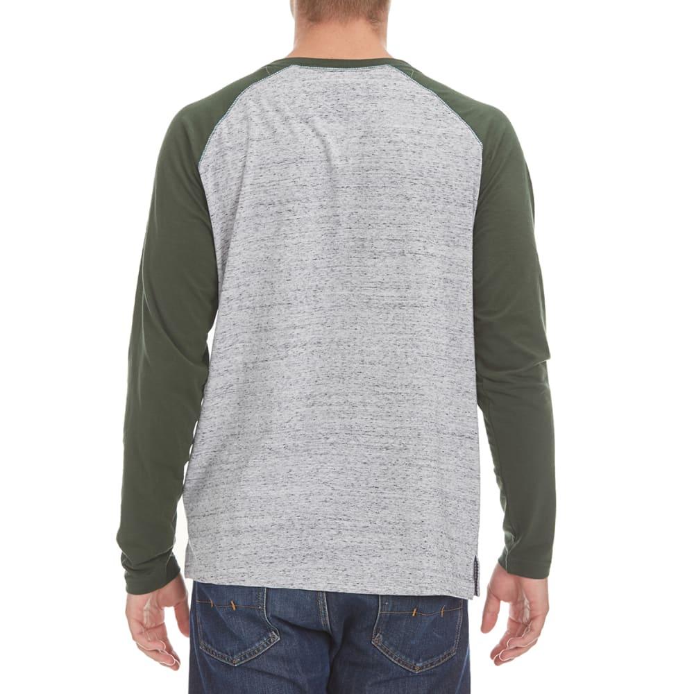 NORTH HUDSON Men's Raglan Space-Dye Henley Shirt - GRY HTR/DEEP FOREST