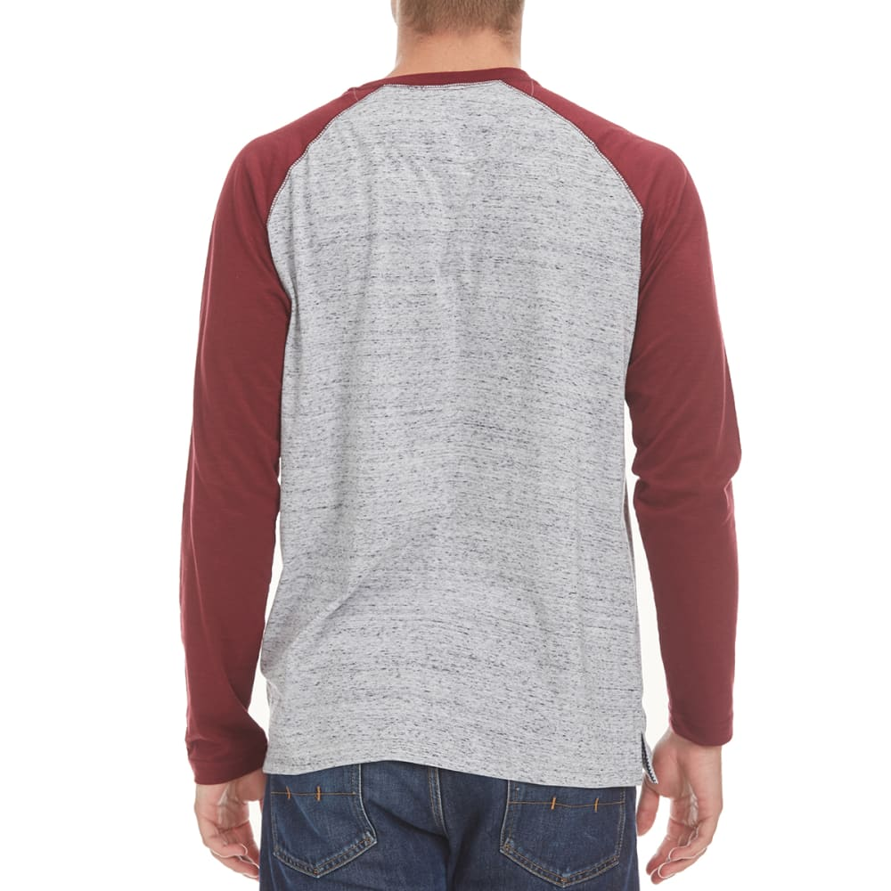 NORTH HUDSON Men's Raglan Space-Dye Henley Shirt - GRY HTR/ZINFANDEL