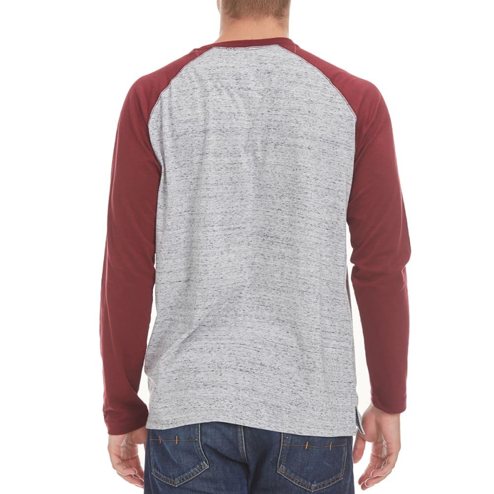 NORTH HUDSON Men's Raglan Space-Dye Henley Shirt - GRY HTR/ZINFANDEL