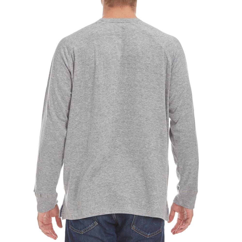 NORTH HUDSON Men's Raglan Double Face Henley Shirt - GREY HTR