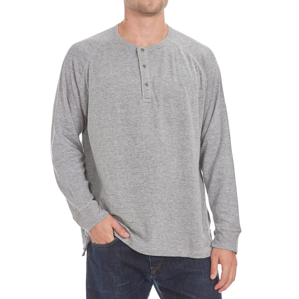 NORTH HUDSON Men's Raglan Double Face Henley Shirt - GREY HTR