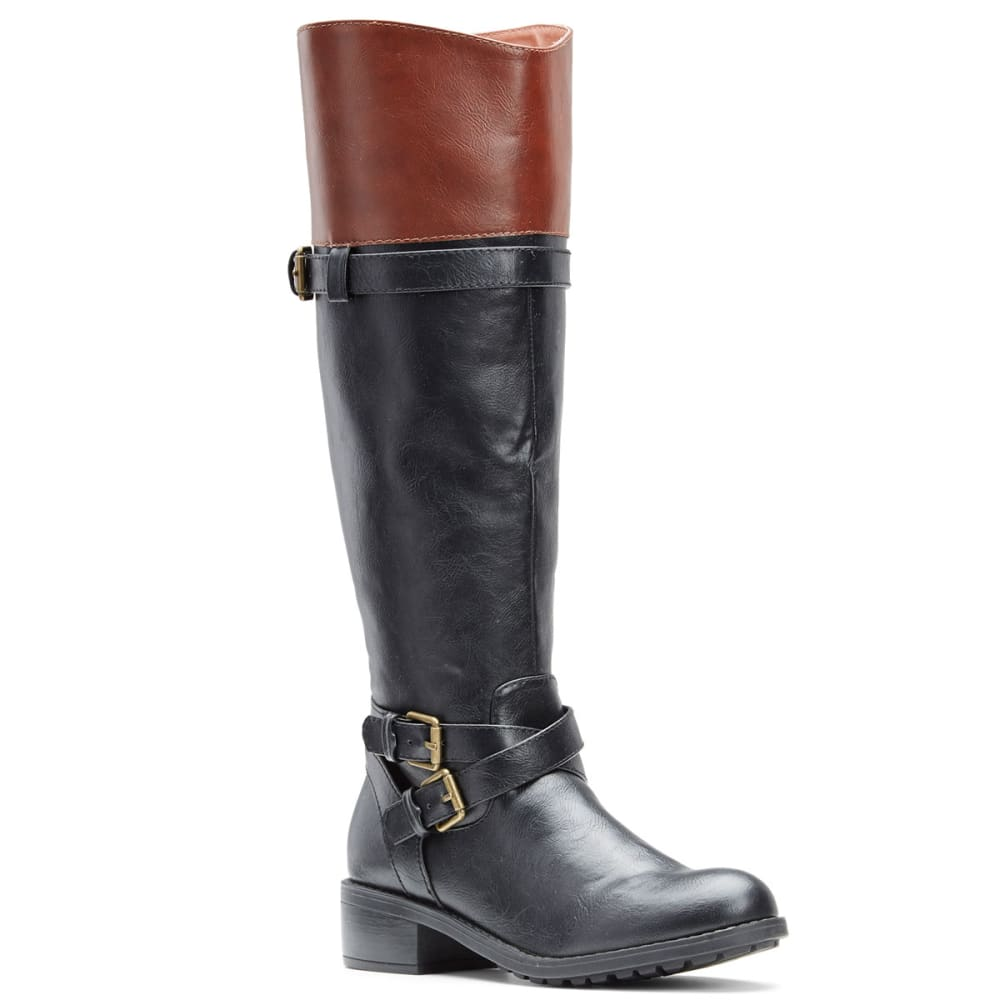 RAMPAGE Women's Britney 2 Tone Riding Boots - BLACK