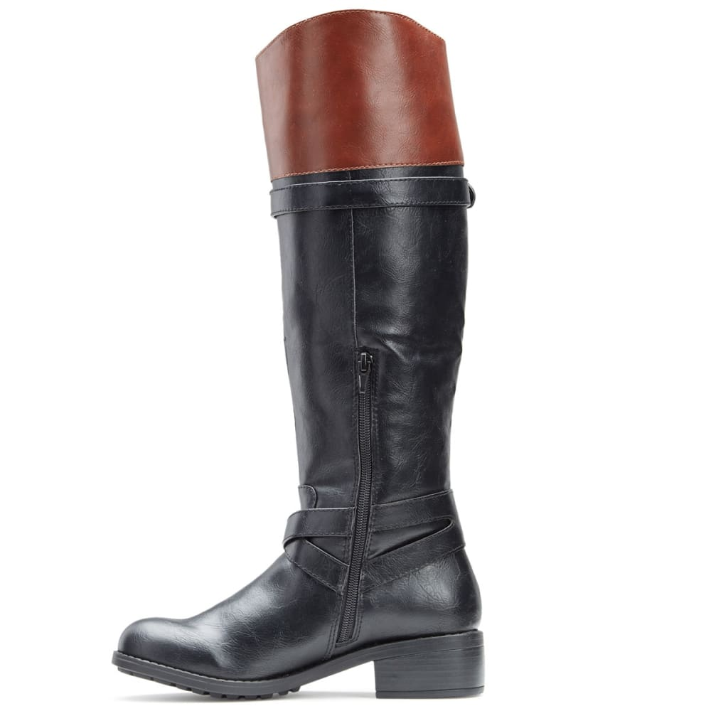 RAMPAGE Women's Britney 2 Tone Riding Boots, Wide - BLACK