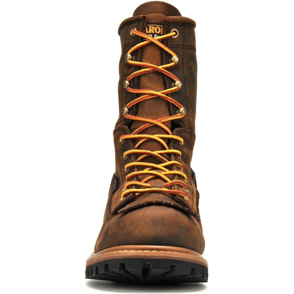 "CAROLINA Men's CA8824 Extra Wide 8"" Lace Logger Waterproof Work Boots, Copper Crazy Horse - BROWN"