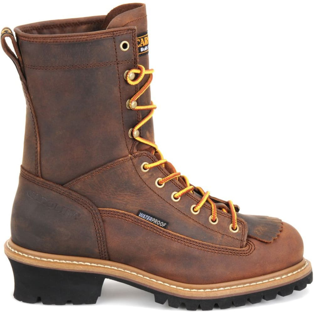 """CAROLINA Men's CA9824 Extra Wide 8"""" Lace Logger Waterproof Work Boots, Copper Crazy Horse - BROWN"""