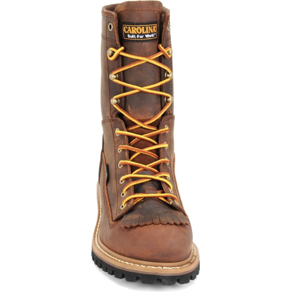 "CAROLINA Men's CA9824 Extra Wide 8"" Lace Logger Waterproof Work Boots, Copper Crazy Horse - BROWN"