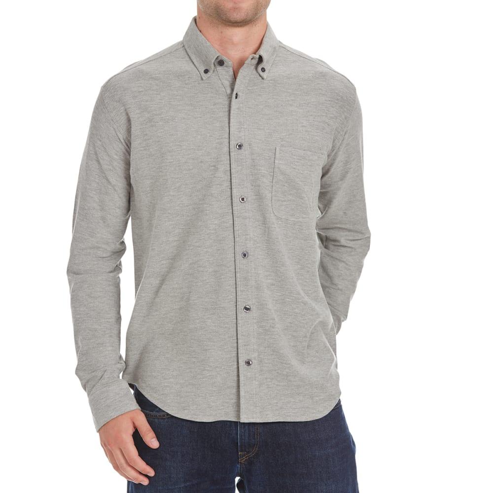 NATURAL BASIX Men's Honeycomb Pique Woven Long-Sleeve Shirt - GREY HTR