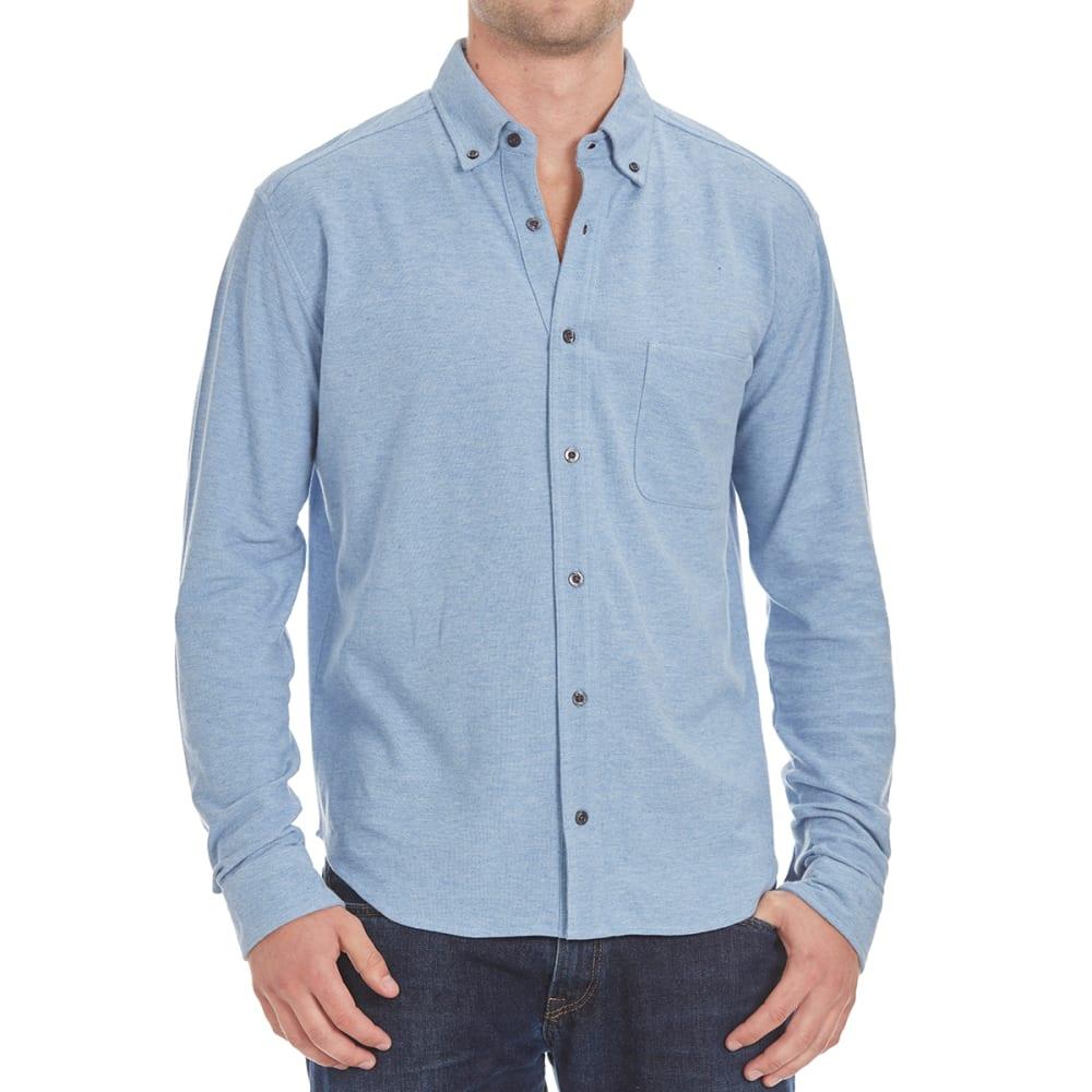NATURAL BASIX Men's Honeycomb Pique Woven Long-Sleeve Shirt - BLUE HTR