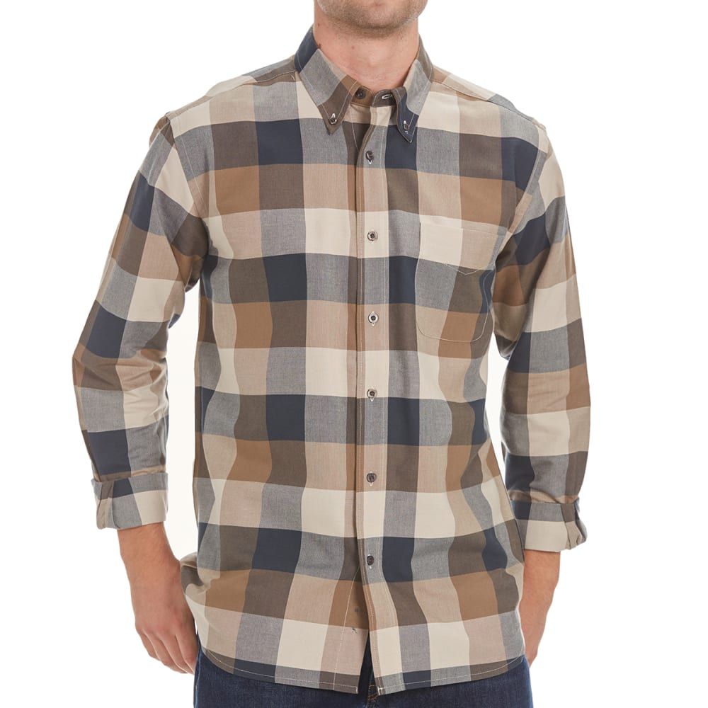 NATURAL BASIX Men's Block Plaid Shirt - GREY PLAID