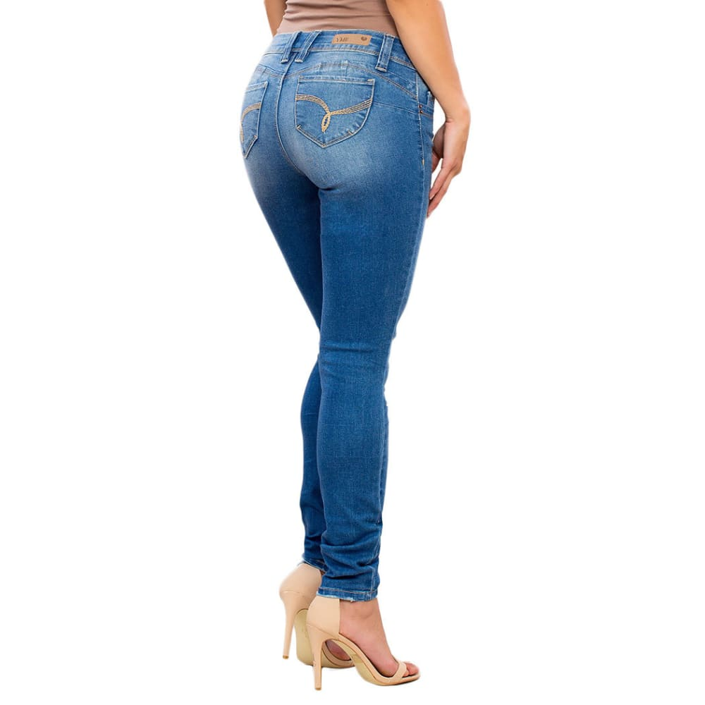 YMI Juniors' Wanna Betta Butt Five-Pocket Skinny Jeans - M576-MED WASH