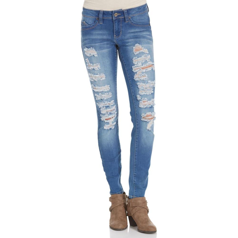 YMI Juniors' Wanna Betta Butt Five-Pocket Destruction Skinny Jeans - MED WASH M021