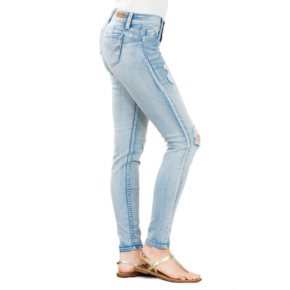 YMI Juniors' Wanna Betta Butt Five-Pocket Destruction Skinny Jeans - LT WASH 21M1