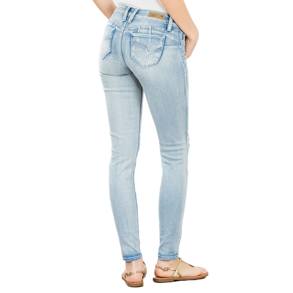 YMI Juniors' Wanna Betta Butt Five-Pocket Destruction Skinny Jeans - LT WASH 21M1