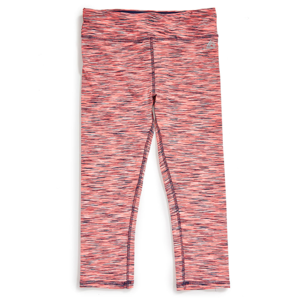 RBX Girls' Multicolored Space-Dye Capri Pants - A- NEON CORAL/NAVY