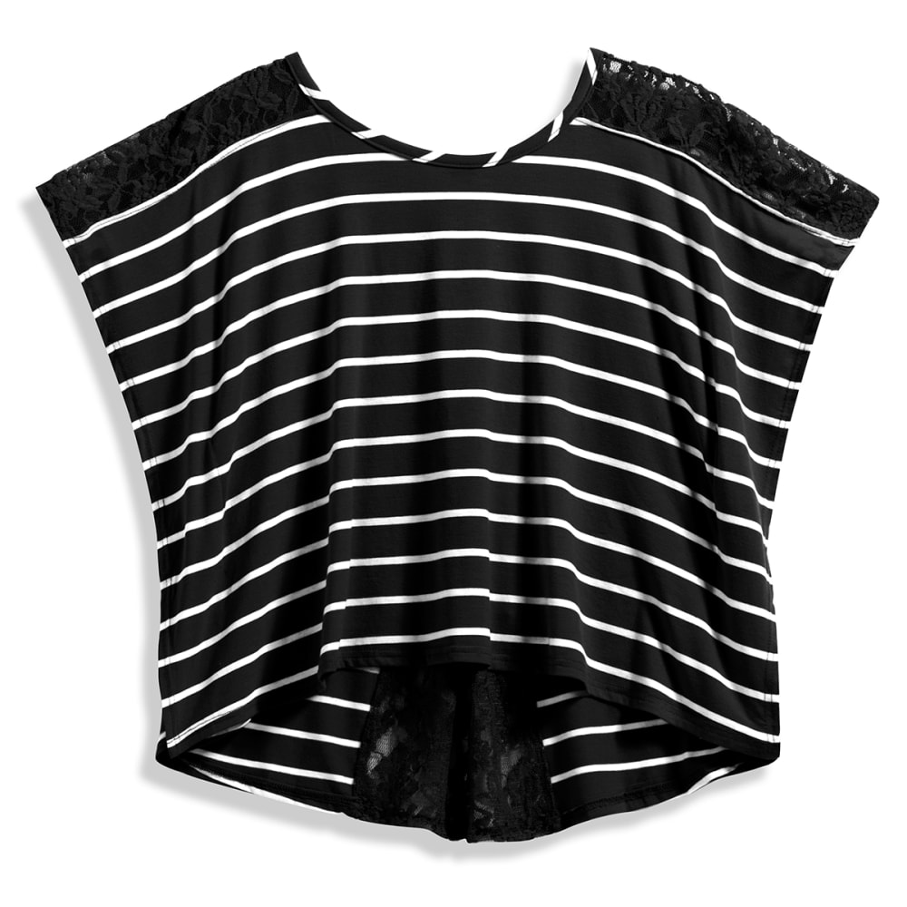 POOF Juniors' Stripe Lace Boxy Tee - BLACK/OATMEAL HTHR