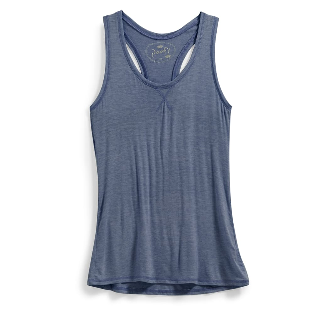 POOF Juniors' Micro Stripe Jersey Racerback Tank - NEW NAVY/EGGWHITE