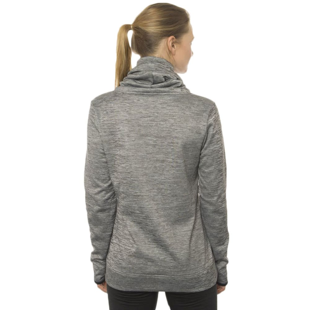 RBX Women's Fleece Cowl Neck Top with Mesh Trim - GREY/CITRON-A