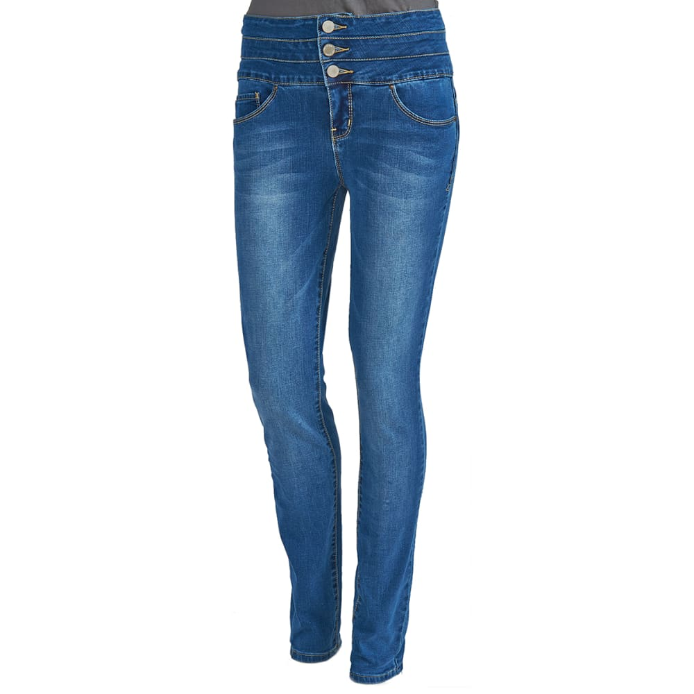 YMI Juniors' Wanna Betta Shape Stacked Waist Triple-Button Jeans - MED WASH M02