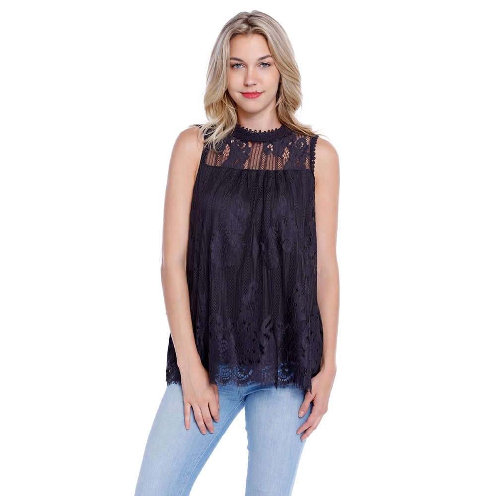 TAYLOR & SAGE Juniors' High-Neck Victorian Lace Tank - BLACK TEA
