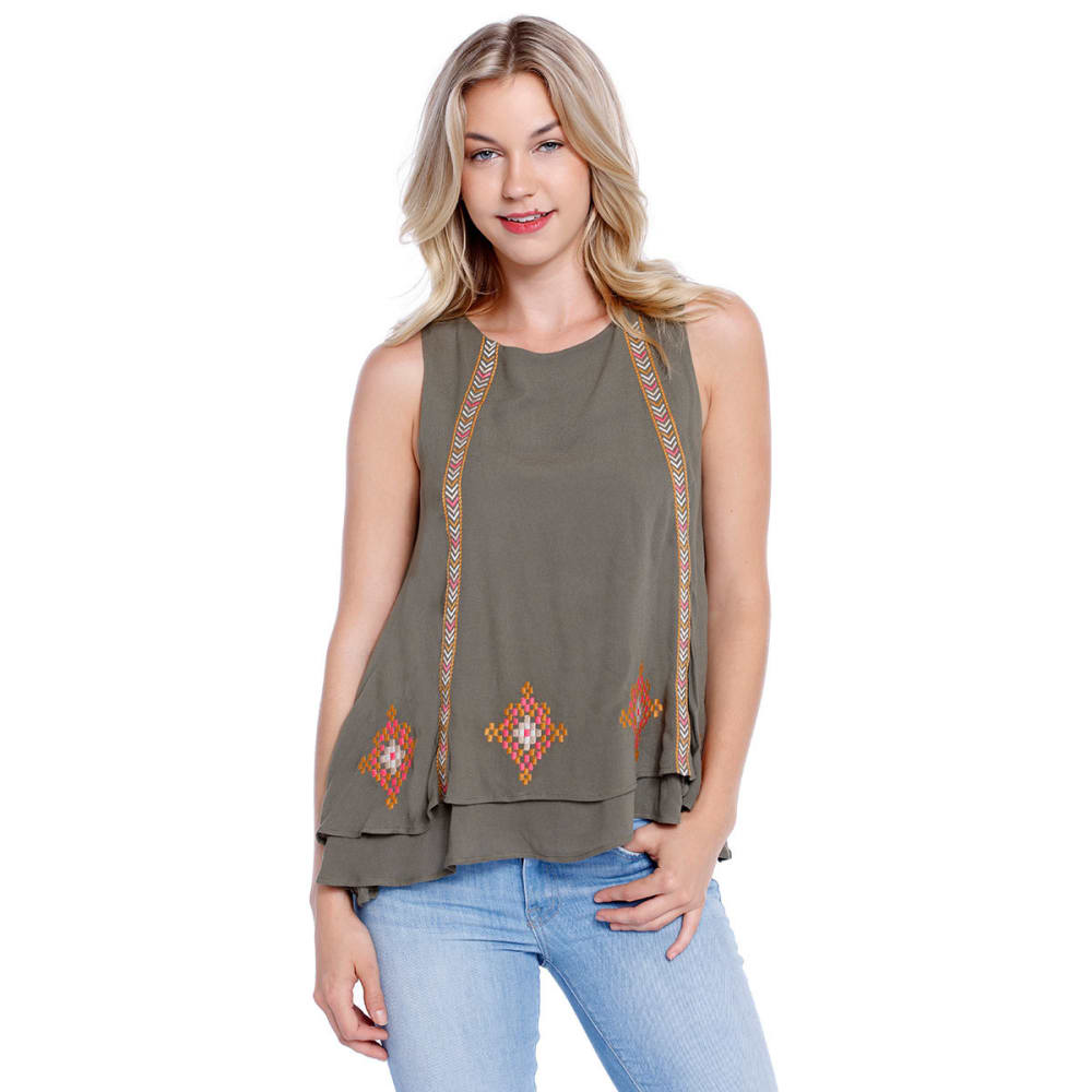 TAYLOR & SAGE Juniors' High-Neck Embroidered Double Layer Sleeveless Top - TEAK DRAB OLIVE
