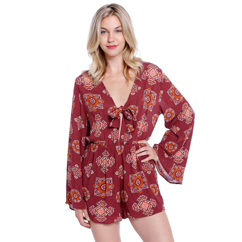 TAYLOR & SAGE Juniors' Tie-Front Printed Long-Sleeve Romper - RED HENNA