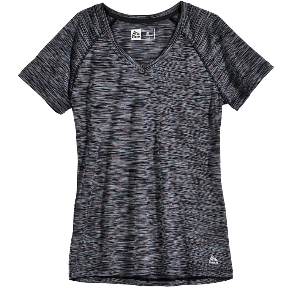 RBX Women's Speckled Space-Dye V-Neck Tee - BLACK-A