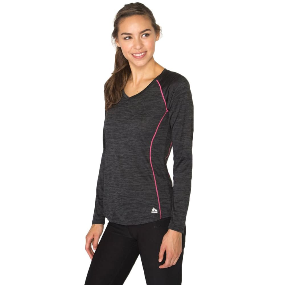 RBX Women's Long Sleeve Double Space Dye V-neck Tee - BLACK-A