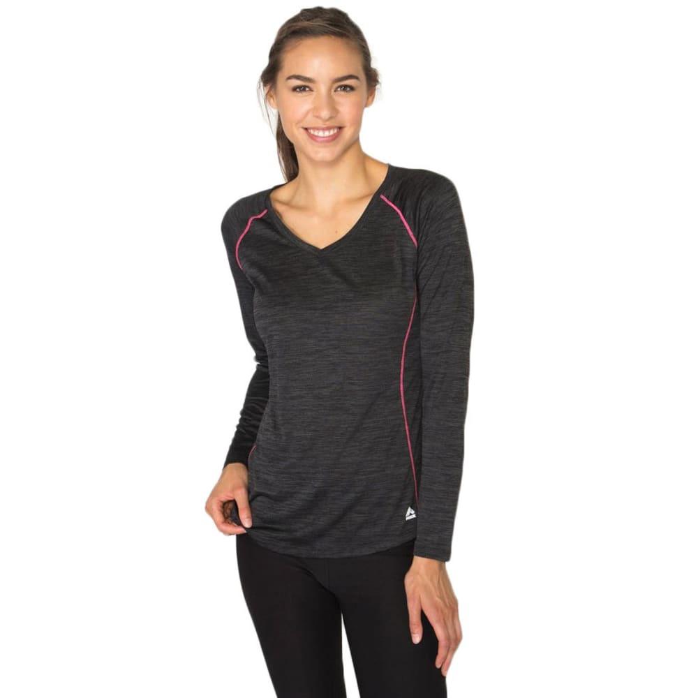 RBX Women's Long Sleeve Double Space Dye V-neck Tee - BLACK-A
