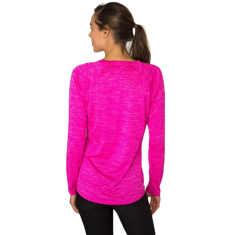 RBX Women's Long Sleeve Double Space Dye V-neck Tee - COSMIC PINK-C