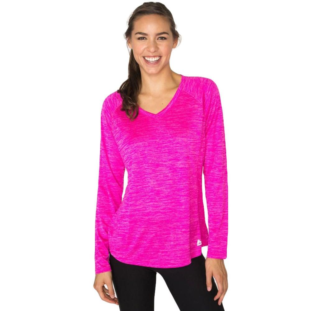 RBX Women's Long Sleeve Double Space Dye V-neck Tee - COSMIC PINK-C