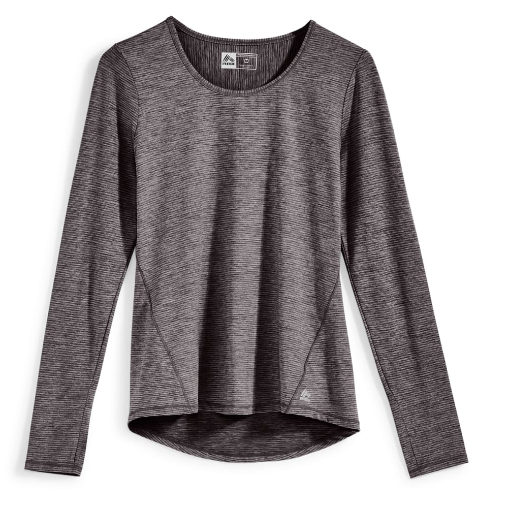 RBX Women's Striped Heather Jersey Crew Long-Sleeve Top - BLACK-A
