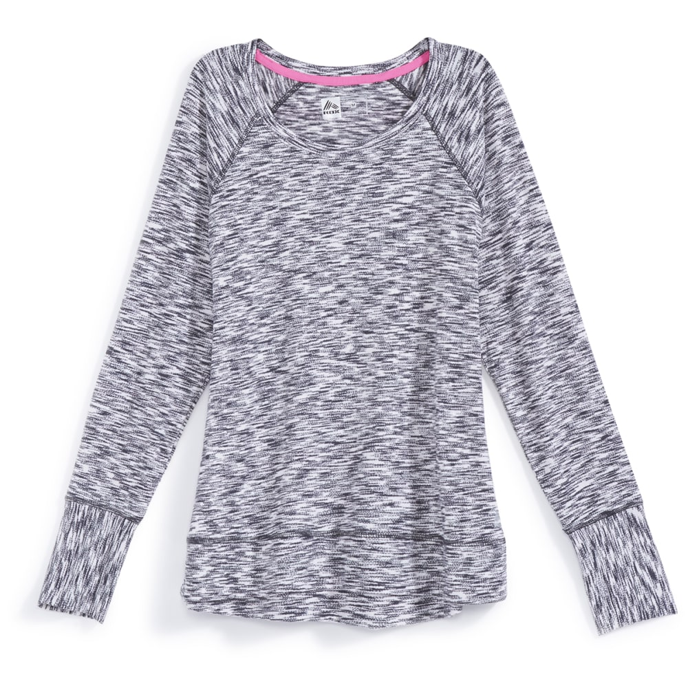 RBX Women's Striated Sweater Knit Long-Sleeve Top - GREY-A