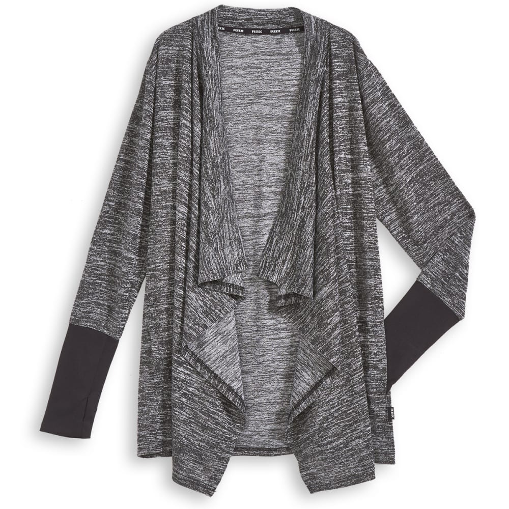 RBX Women's Hacci Knit Flyaway Cardigan - GREY-A
