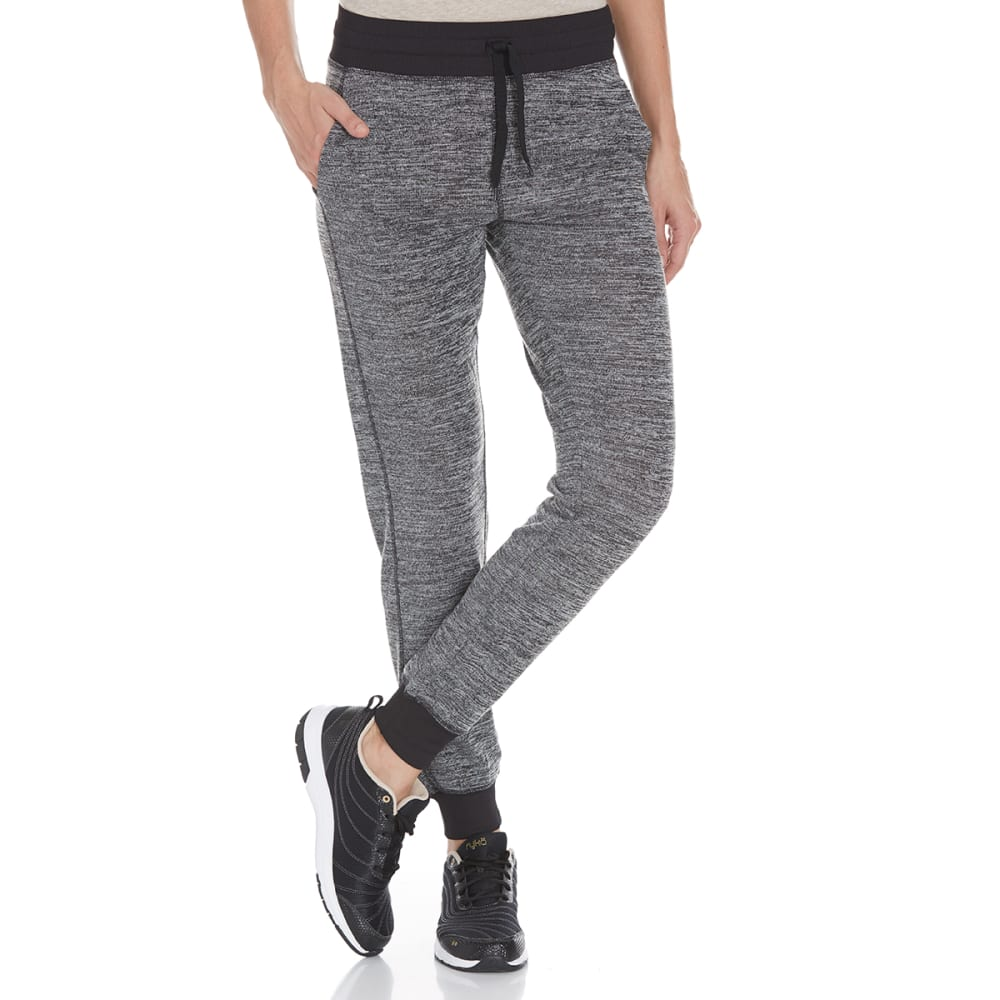 RBX Women's Hacci Jogger Pants with Ribbed Cuffs - GREY-A