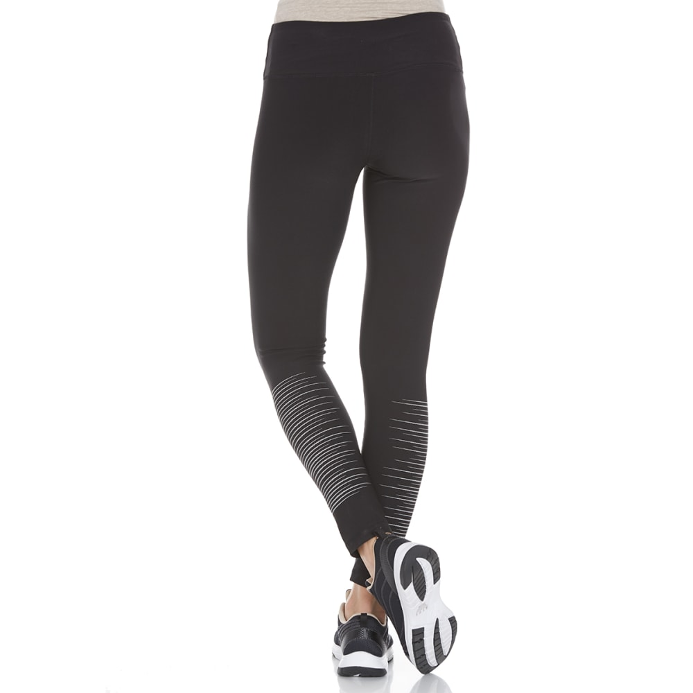 RBX Women's Reflective Print Leggings - BLACK/SILVER-A