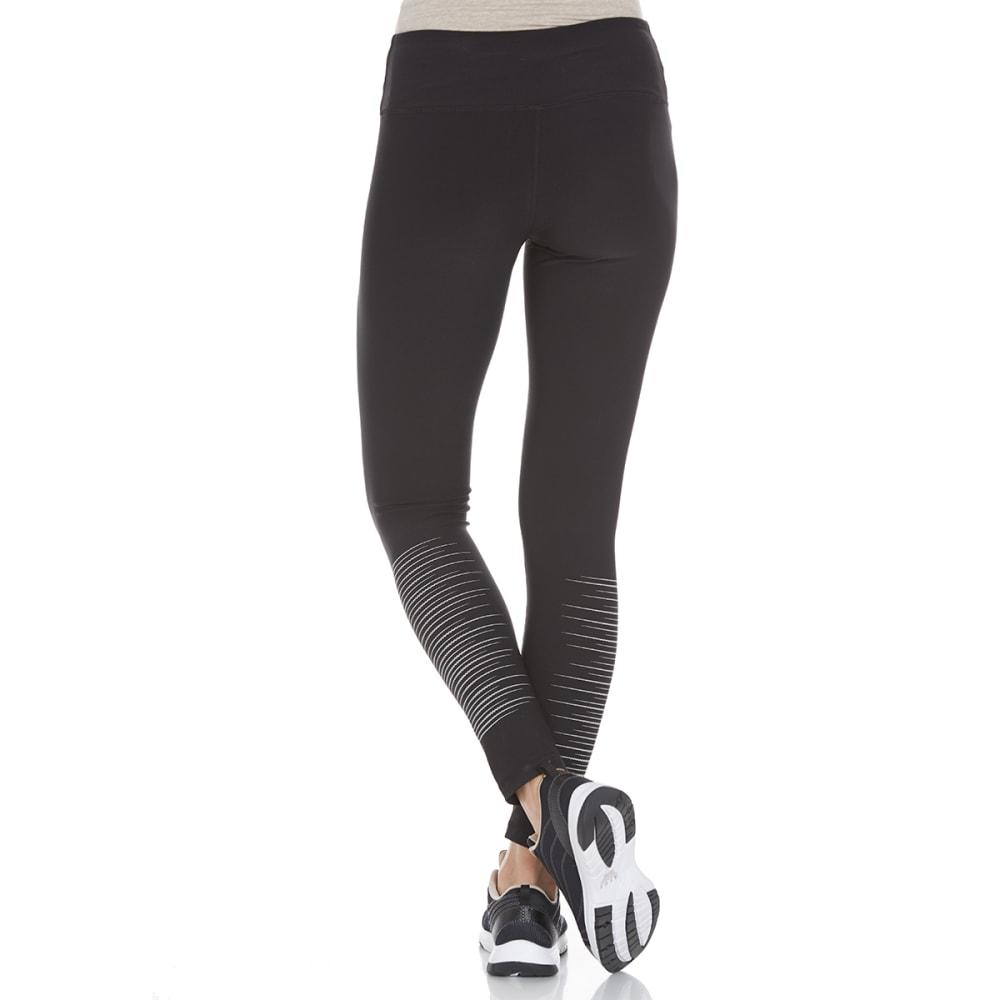 RBX Women's Reflective Print Leggings - BLACK/SILVER-A