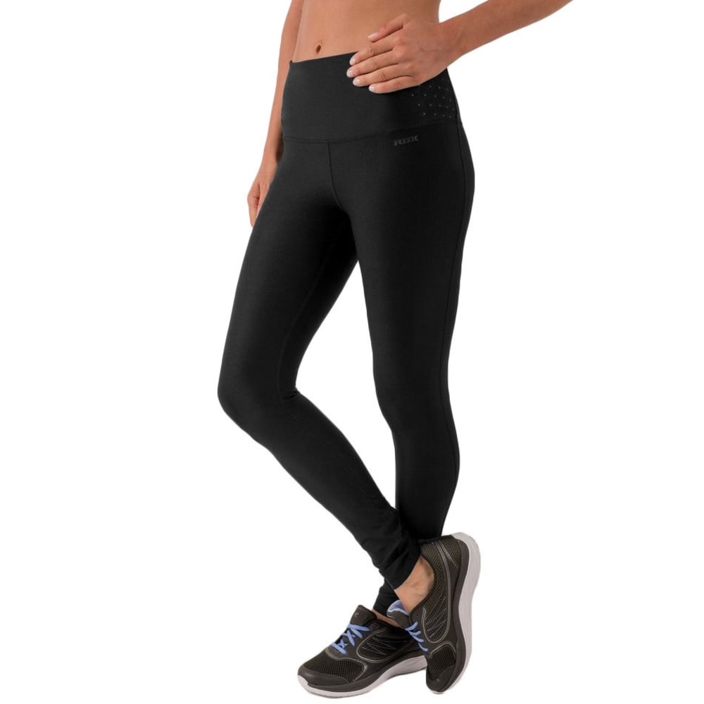 RBX Women's Laser Cut Waistband Leggings - BLACK/GREY-B