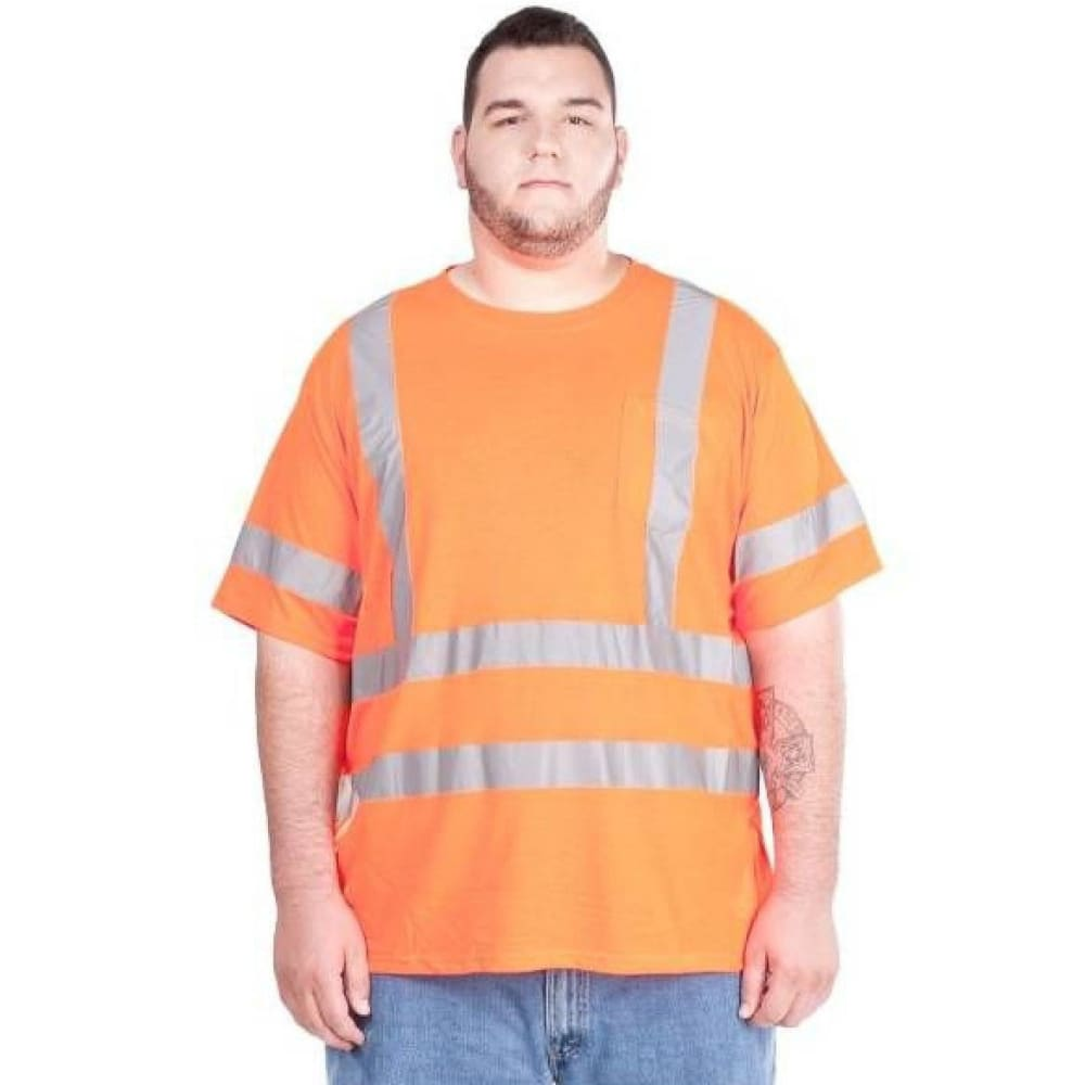 UTILITY PRO Men's UHV302 High-Visibility Short-Sleeve Shirt - FLORESANT ORANGE