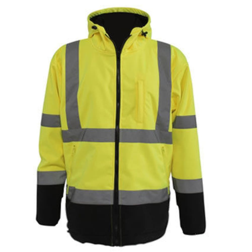 UTILITY PRO WEAR Men's Polar Fleece-Lined Soft Shell Jacket - FLO YELLOW/BLK