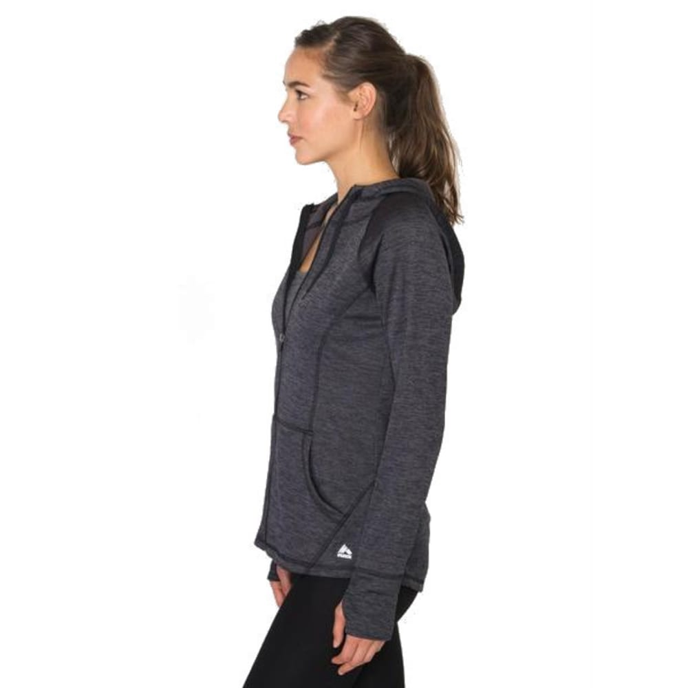 RBX Women's Space-Dye Brushed Back Hooded Jacket - BLACK-A