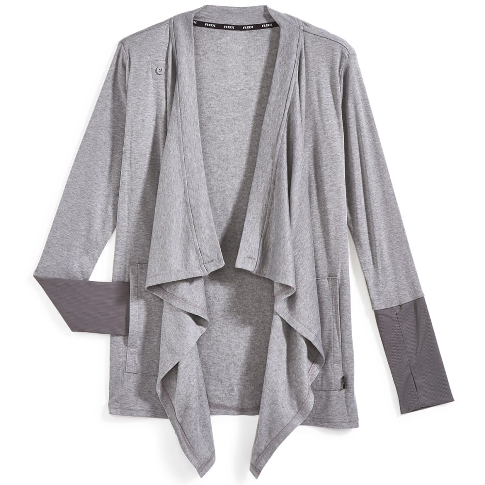 RBX Women's Brushed Back Fly Away Cardigan - LIGHT GREY HTHR-B