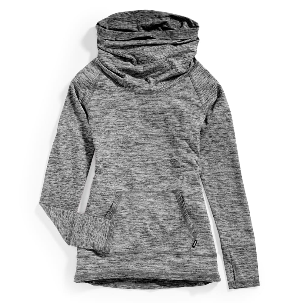 RBX Women's Space Dye Brushed Back Cowl Pullover - BLACK-A