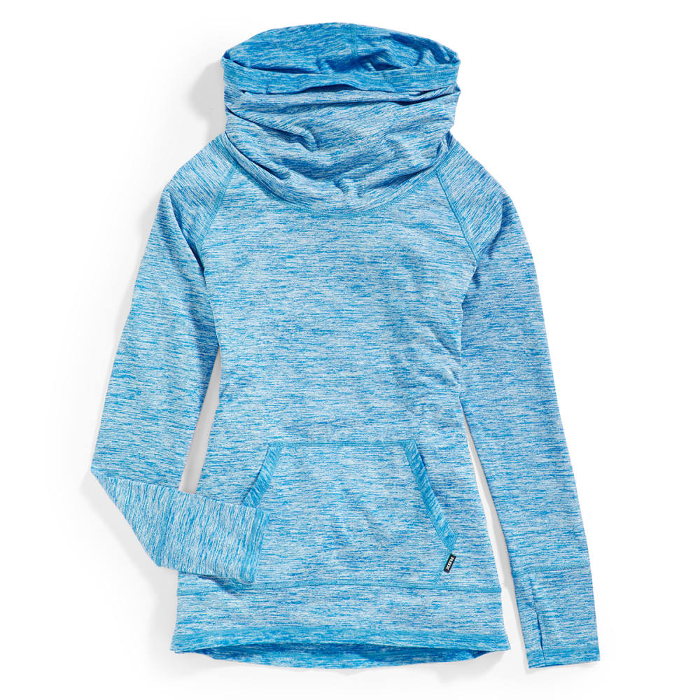 RBX Women's Space Dye Brushed Back Cowl Pullover - COOL BLUE-D