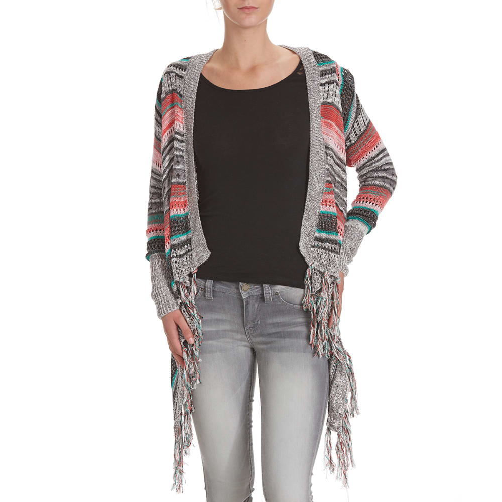 POOF Juniors' Striped Pointelle Cardigan with Fringed Hem - GREY/RED COMBO