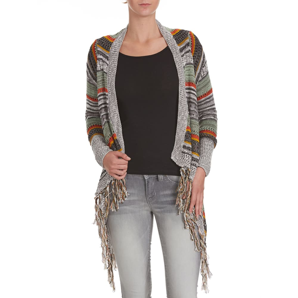 POOF Juniors' Striped Pointelle Cardigan with Fringed Hem - AMBER/OLIVE COMBO