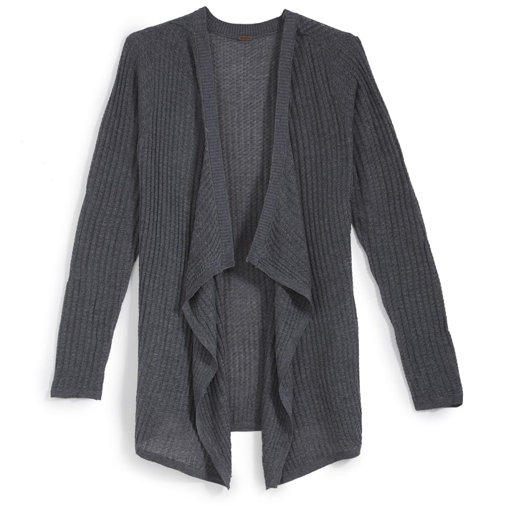 POOF Juniors' Mega Thermal Cascade Cardigan - BLACK HEATHER