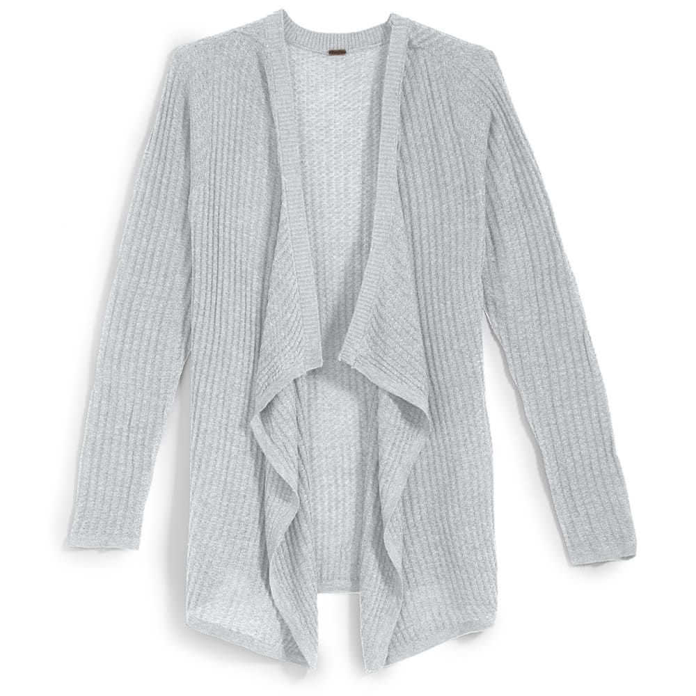 POOF Juniors' Mega Thermal Cascade Cardigan - WHITE HEATHER